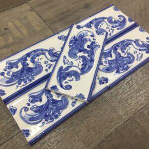 Portuguese Handpainted border Blue/White $4.40ea